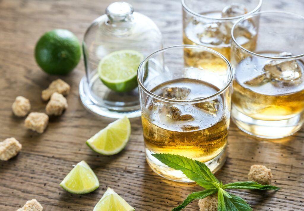 Glasses of rum